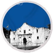 San Antonio The Alamo - Royal Blue Round Beach Towel