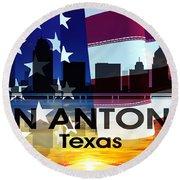 San Antonio Tx Patriotic Large Cityscape Round Beach Towel