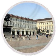 San Carlo Square In Turin Round Beach Towel