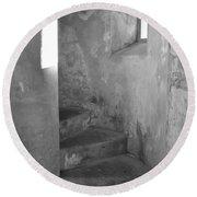 San Christobal Staircase- Black And White Round Beach Towel