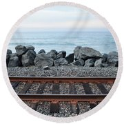 San Clemente Coast Railroad Round Beach Towel