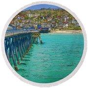 San Clemente Pier Round Beach Towel by Joan Carroll