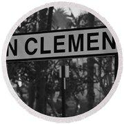 San Clemente Station Sign Round Beach Towel