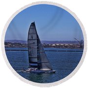 San Diego Harbor Sailing Round Beach Towel