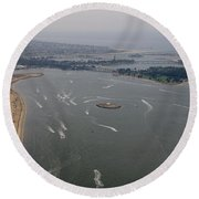 San Diego Mission Bay Aerial 4 Round Beach Towel