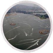 San Diego Mission Bay Water Aerial Round Beach Towel