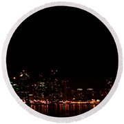 San Diego Night Skyline Round Beach Towel