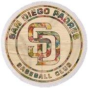 San Diego Padres Logo Art Round Beach Towel