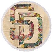 San Diego Padres Logo Vintage Round Beach Towel