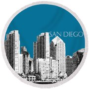 San Diego Skyline 1 - Steel Round Beach Towel