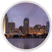 San Diego Skyline At Dusk Panoramic Round Beach Towel