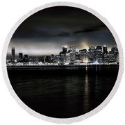 Across The Bay Version A Round Beach Towel