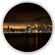 Across The Bay Version B Round Beach Towel
