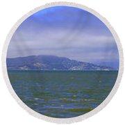 San Francisco Bay Golden Gate Bridge    Alcatraz Panorama Round Beach Towel