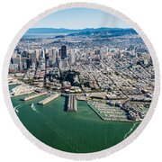 San Francisco Bay Piers Aloft Round Beach Towel