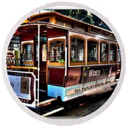 San Francisco Cable Car Painting Round Beach Towel