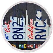San Francisco California Skyline License Plate Art Round Beach Towel