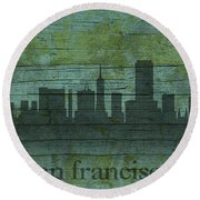 San Francisco California Skyline Silhouette Distressed On Worn Peeling Wood Round Beach Towel