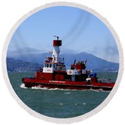 San Francisco Fire Department Fire Boat Round Beach Towel