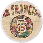 San Francisco Giants Logo Vintage Round Beach Towel