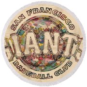 San Francisco Giants Poster Vintage Round Beach Towel