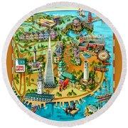 San Francisco Illustrated Map Round Beach Towel