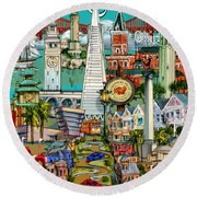 San Francisco Illustration Round Beach Towel