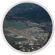 San Francisco International Airport Round Beach Towel