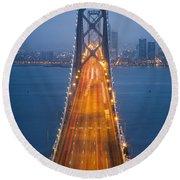 San Francisco - Oakland Bay Bridge Round Beach Towel