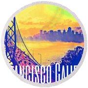 San Francisco Postcard Round Beach Towel