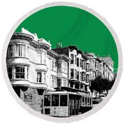 San Francisco Skyline Cable Car 2 - Forest Green Round Beach Towel