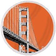 San Francisco Skyline Golden Gate Bridge 2 - Coral Round Beach Towel