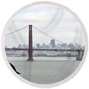 San Francisco Through The Golden Gate Round Beach Towel