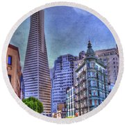 San Francisco Transamerica Pyramid And Columbus Tower View From North Beach Round Beach Towel