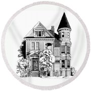 San Francisco Victorian Round Beach Towel by Mary Palmer