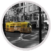 San Francisco Vintage Streetcar On Market Street - 5d19798 - Black And White And Yellow Round Beach Towel
