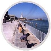 San Francisco Waterfront 1975 Round Beach Towel