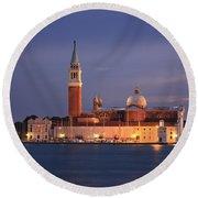San Giorgio Maggiore Island Venice Italy Round Beach Towel