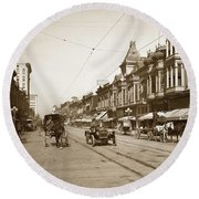 94-095-0001 Early Knox Automobile First Street San Jose California Circa 1905 Round Beach Towel