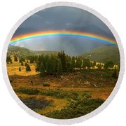 San Juan Mountains Rainbow Round Beach Towel