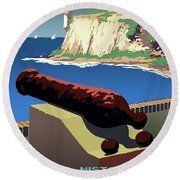 San Juan National Historic Site Vintage Poster Round Beach Towel