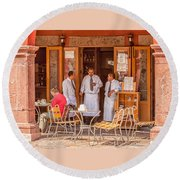 San Miguel - Waiting For Customers Round Beach Towel