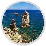 San Pietro Island - Le Colonne Cliff Round Beach Towel