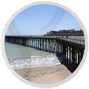 San Simeon Pier  Round Beach Towel