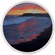 San Simeon Sunset Round Beach Towel