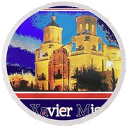 San Xavier Mission Postcard #1  With Lettering No Date-2013  Round Beach Towel
