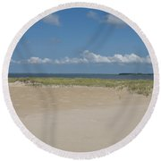 Sand And Ocean Of Assateague Island National Seashore Round Beach Towel