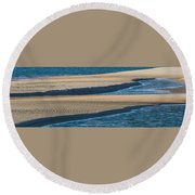 Sand And Water Textures Abstract Round Beach Towel