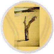 Sand And Wood Round Beach Towel