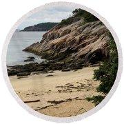 Sand Beach Acadia Park Round Beach Towel